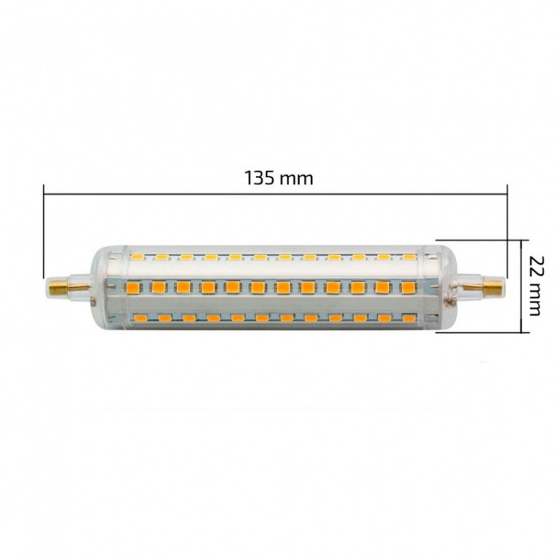 LED R7S Slim 135mm 15W BLANC CHAUD 3000K